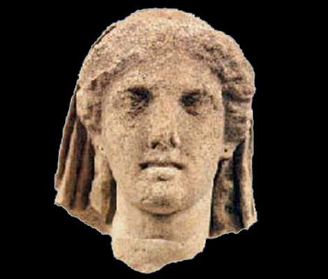 Head of the statue of Demeter at the temple of Dion (Macedonia, northern Greece)